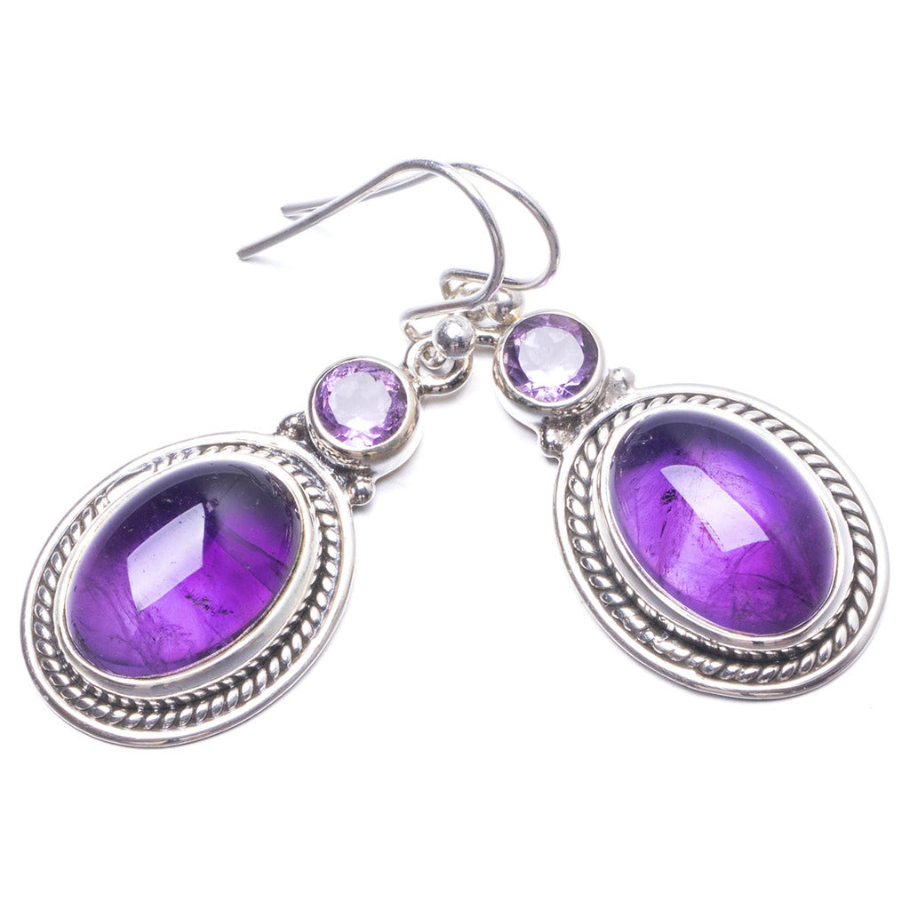 Natural Amethyst Handmade Unique 925 Sterling Silver Earrings 1 1/2