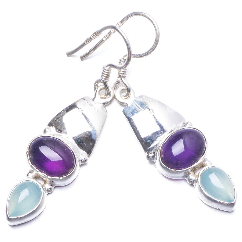Natural Amethyst and Chalcedony Handmade Unique 925 Sterling Silver Earrings 1 3/4