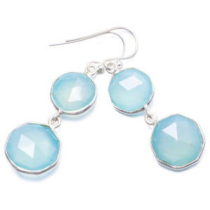 "Natural Chalcedony Handmade Unique 925 Sterling Silver Earrings 1 3/4"" Y2228"