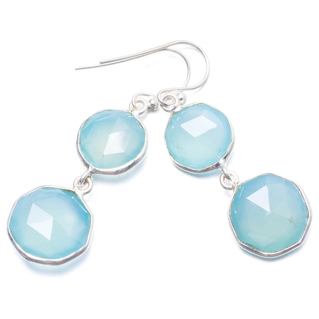 Natural Chalcedony Handmade Unique 925 Sterling Silver Earrings 1 3/4