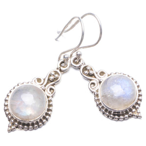 "Natural Rainbow Moonstone Handmade Unique 925 Sterling Silver Earrings 1 3/4"" Y2236"