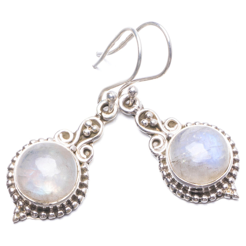 Natural Rainbow Moonstone Handmade Unique 925 Sterling Silver Earrings 1 3/4