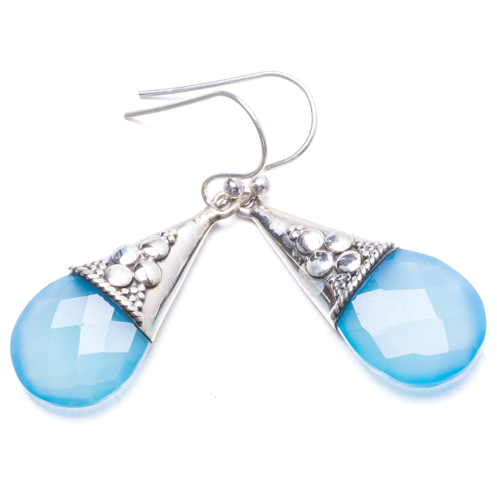 Natural Chalcedony Handmade Unique 925 Sterling Silver Earrings 1 1/2