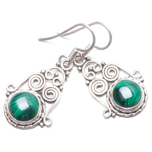 "Natural Malachite Handmade Unique 925 Sterling Silver Earrings 1 1/4"" Y2253"