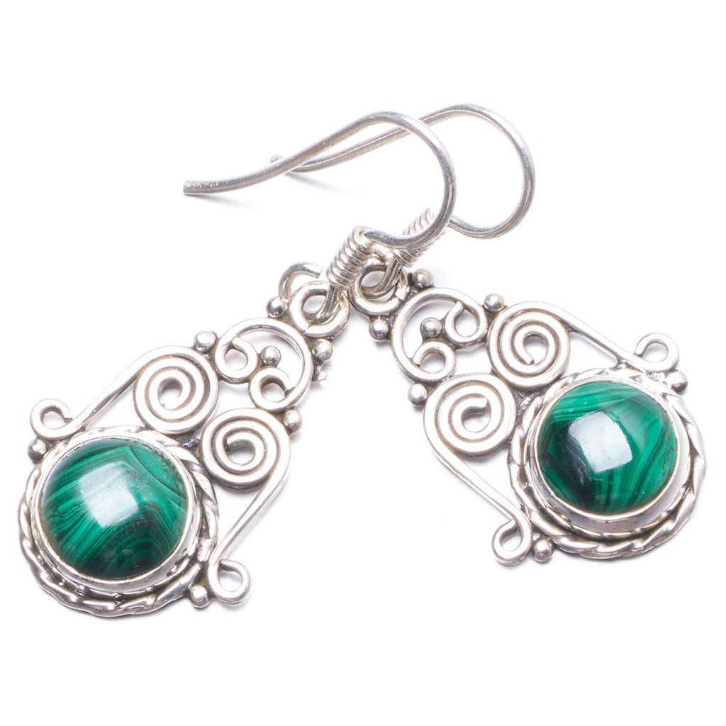 Natural Malachite Handmade Unique 925 Sterling Silver Earrings 1 1/4