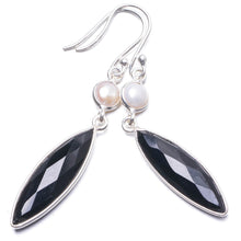 "Natural Black Onyx and River Pearl Handmade Unique 925 Sterling Silver Earrings 2 1/4"" Y2254"