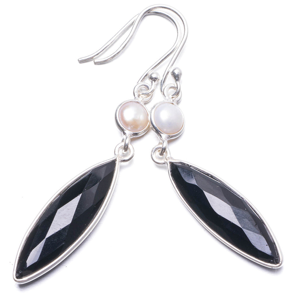 Natural Black Onyx and River Pearl Handmade Unique 925 Sterling Silver Earrings 2 1/4