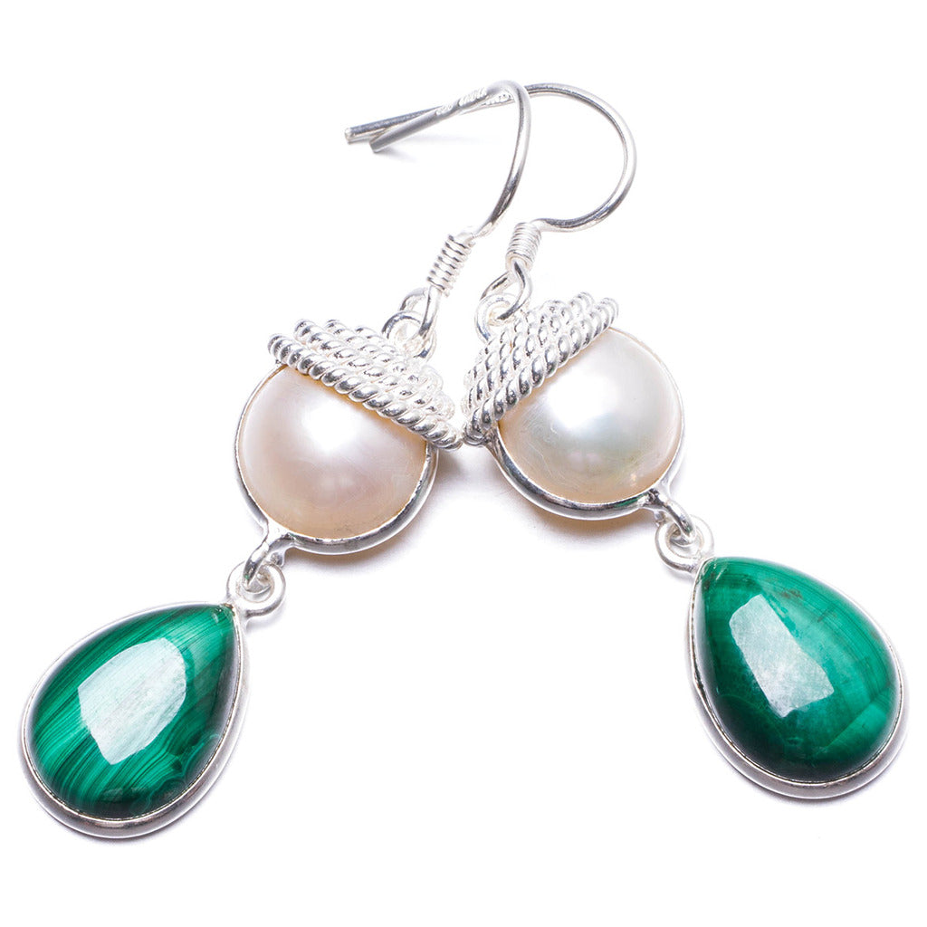Natural Malachite and River Pearl Handmade Unique 925 Sterling Silver Earrings 1 3/4