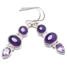 "Natural Amethyst Handmade Unique 925 Sterling Silver Earrings 1 3/4"" Y2263"
