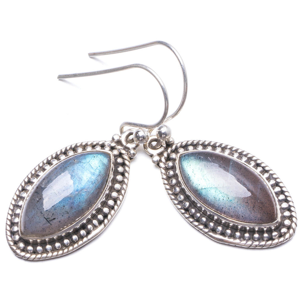 Natural Labradorite  Handmade Unique 925 Sterling Silver Earrings 1 1/4
