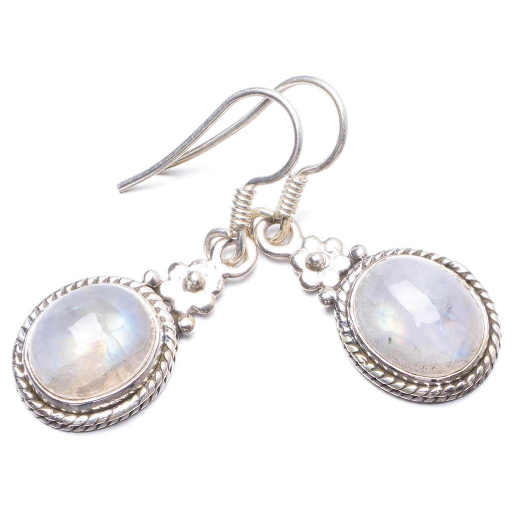 Natural Rainbow Moonstone Handmade Unique 925 Sterling Silver Earrings 1 1/4