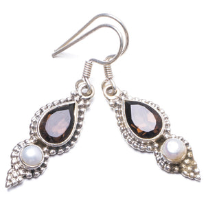 "Natural Smoky Quartz and River Pearl Handmade Unique 925 Sterling Silver Earrings 1 1/2"" Y2293"