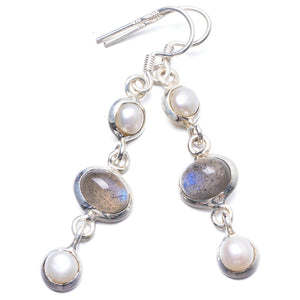 "Natural Labradorite and River Pearl Handmade Unique 925 Sterling Silver Earrings 2"" Y2303"