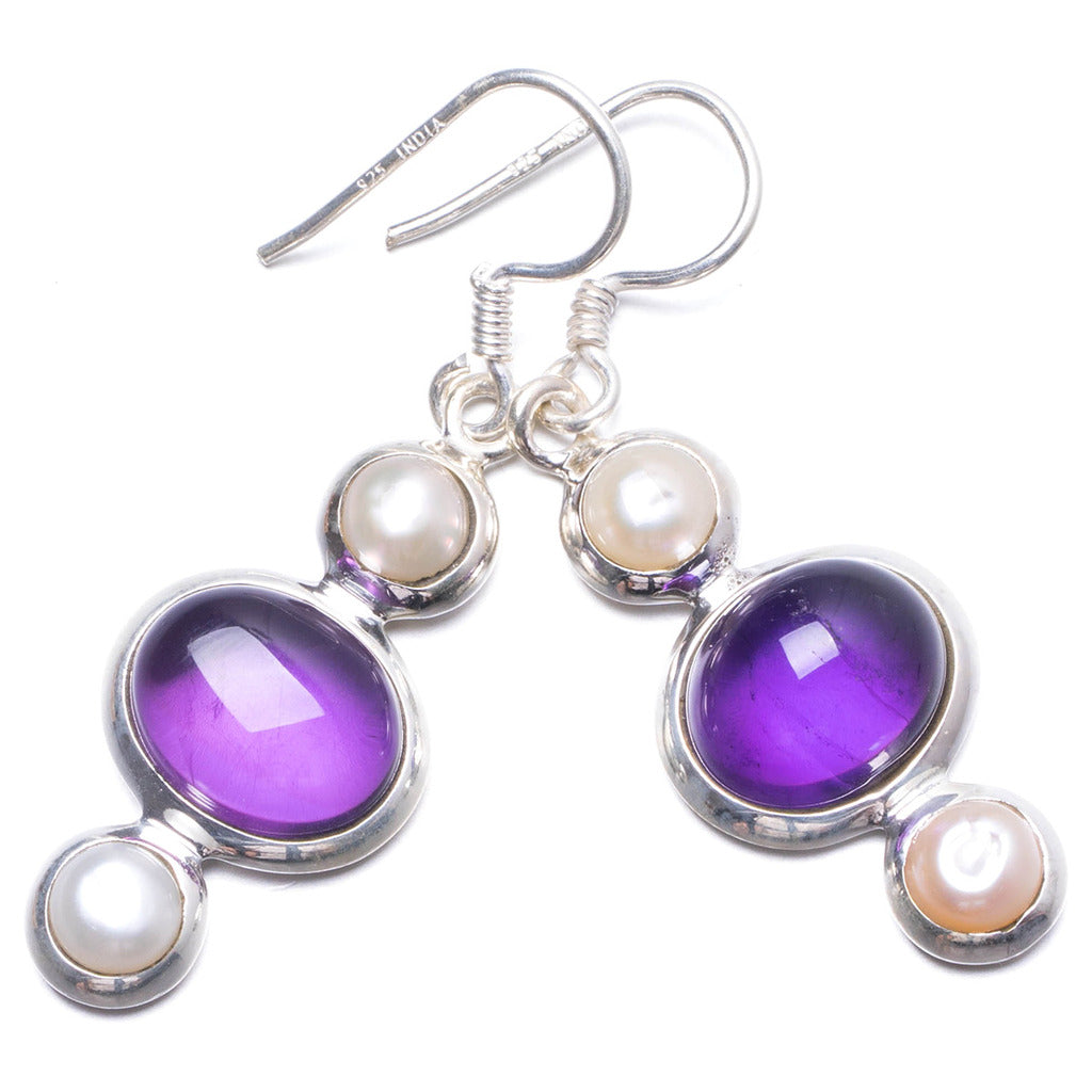 Natural Amethyst and River Pearl Handmade Unique 925 Sterling Silver Earrings 1 3/4