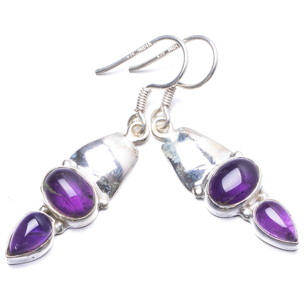 Natural Amethyst Handmade Unique 925 Sterling Silver Earrings 1 3/4