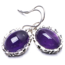 "Natural Amethyst Handmade Unique 925 Sterling Silver Earrings 1 1/4"" Y2356"