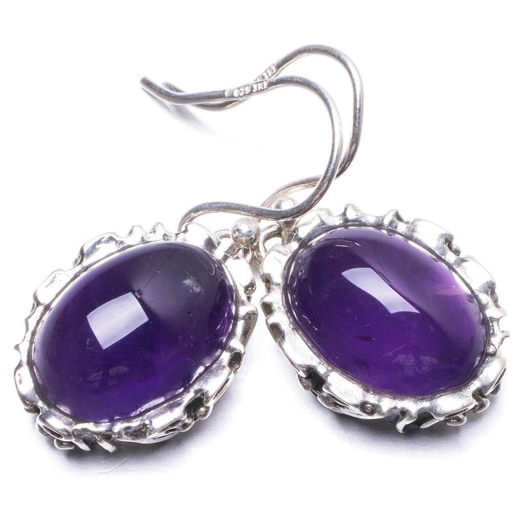 Natural Amethyst Handmade Unique 925 Sterling Silver Earrings 1 1/4