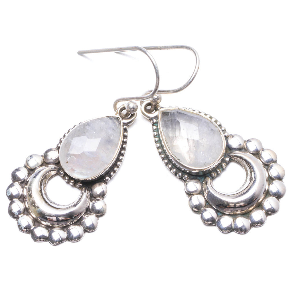 Natural Rainbow Moonstone Handmade Unique 925 Sterling Silver Earrings 1 1/2