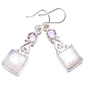 "Natural Rainbow Moonstone and Amethyst Handmade Unique 925 Sterling Silver Earrings 1 3/4"" Y2362"
