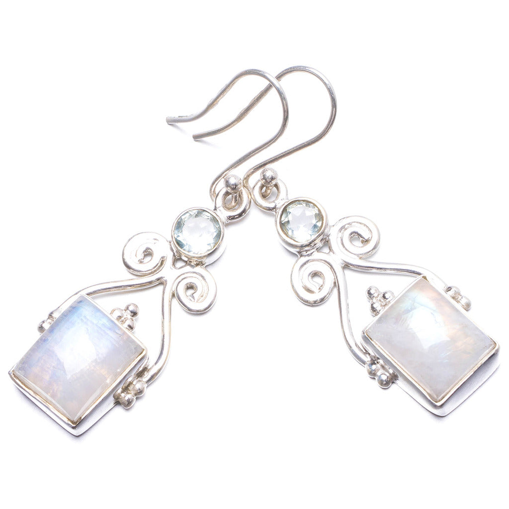 Natural Rainbow Moonstone and Green Amethyst Handmade Unique 925 Sterling Silver Earrings 1 3/4
