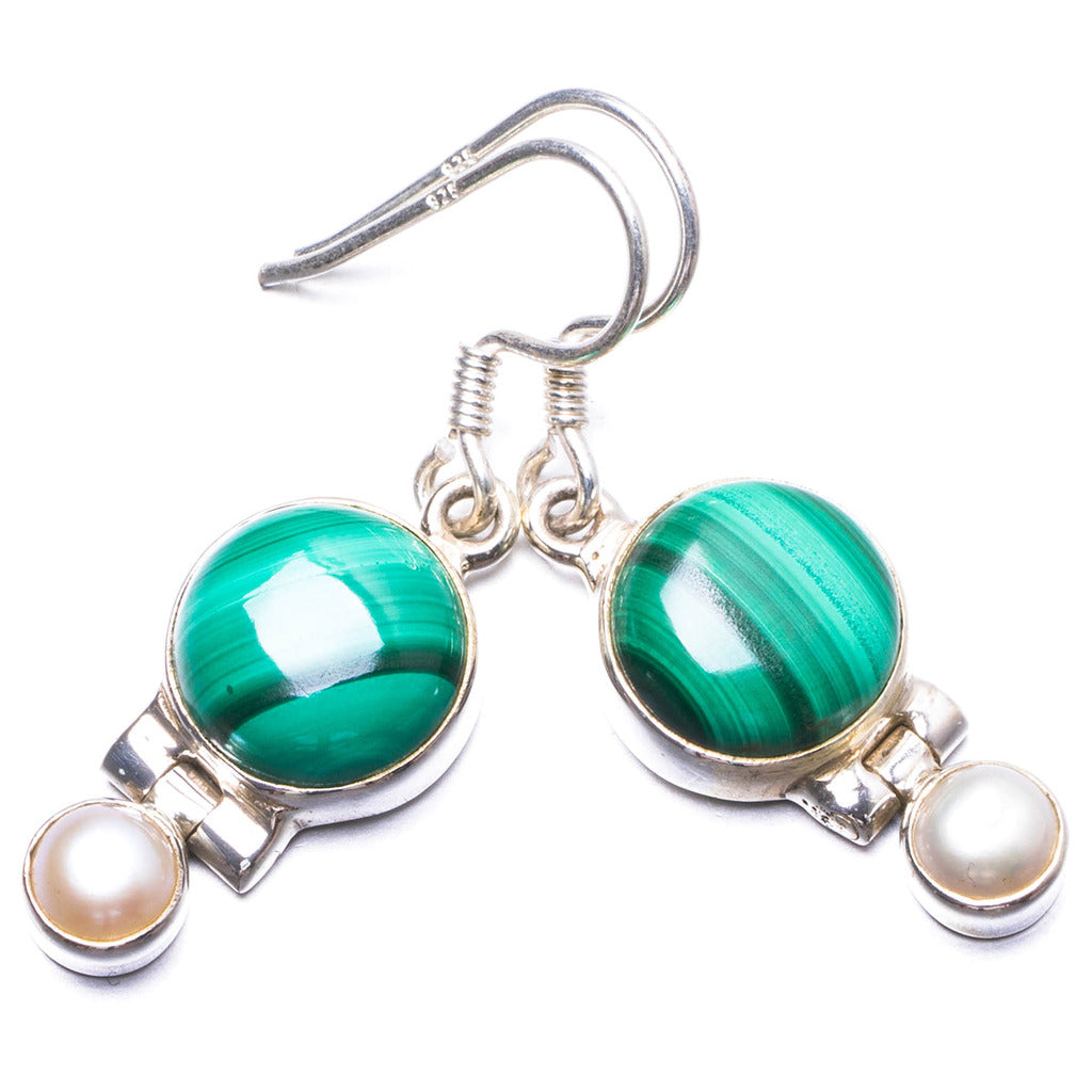 Natural Malachite and River Pearl Handmade Unique 925 Sterling Silver Earrings 1.25