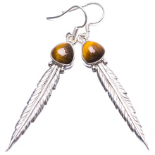 "Natural Tiger Eye Handmade Unique 925 Sterling Silver Earrings 2.5"" Y2425"
