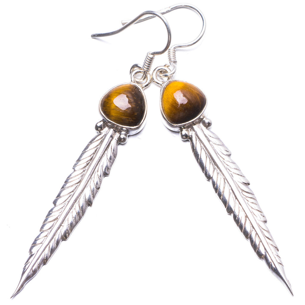 Natural Tiger Eye Handmade Unique 925 Sterling Silver Earrings 2.5