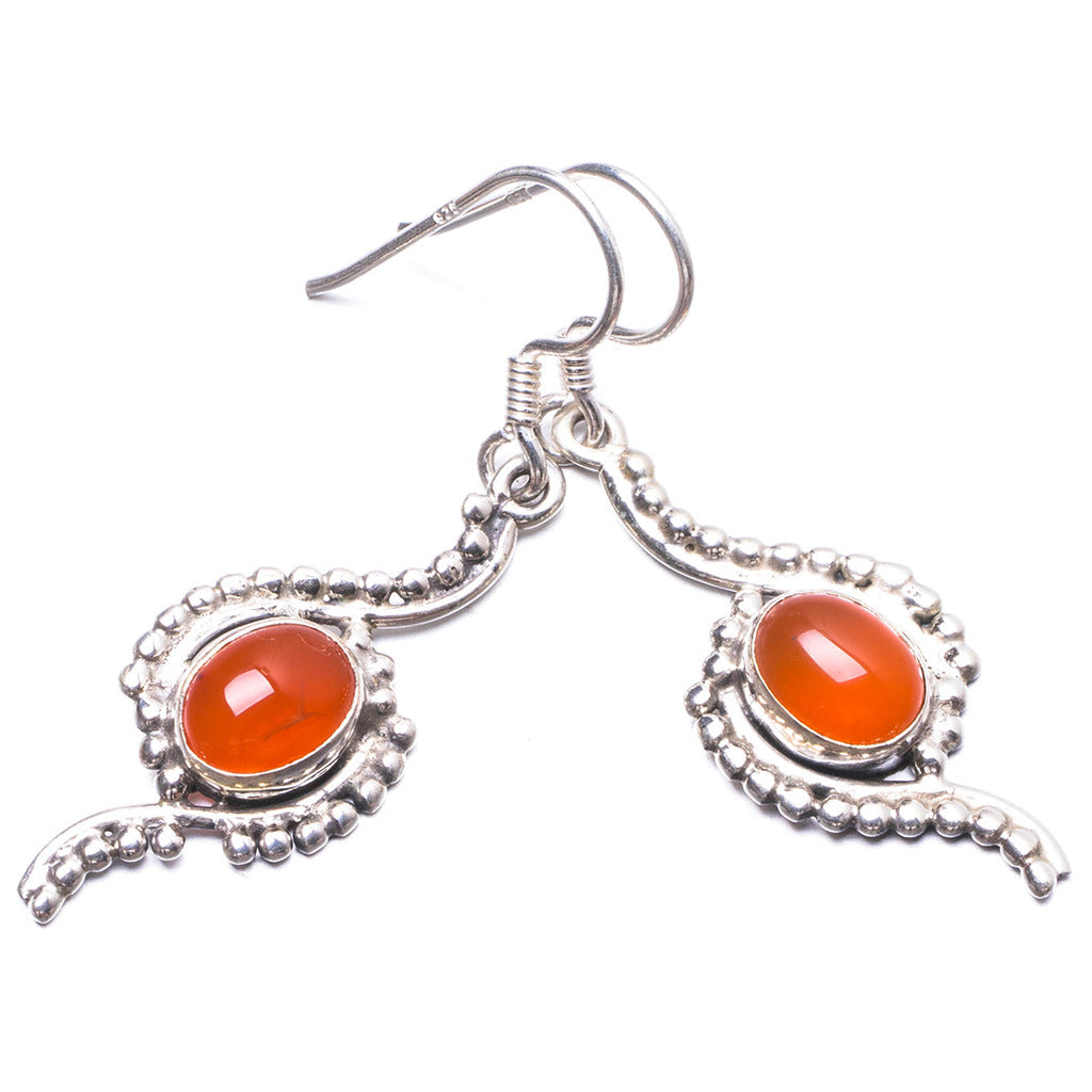 Natural Carnelian Handmade Unique 925 Sterling Silver Earrings 1.75