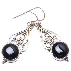"Natural Black Onyx Handmade Unique 925 Sterling Silver Earrings 1.75"" Y2439"