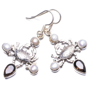 "Natural Smoky Quartz and River Pearl Handmade Unique 925 Sterling Silver Earrings 1.75"" Y2456"