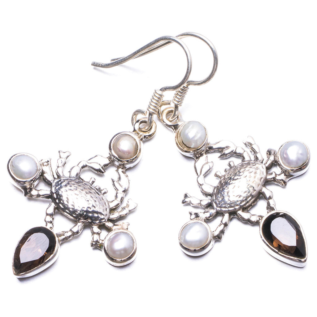 Natural Smoky Quartz and River Pearl Handmade Unique 925 Sterling Silver Earrings 1.75