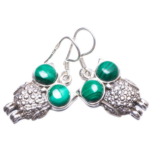 "Natural Malachite Handmade Unique 925 Sterling Silver Earrings 1.25"" Y2463"