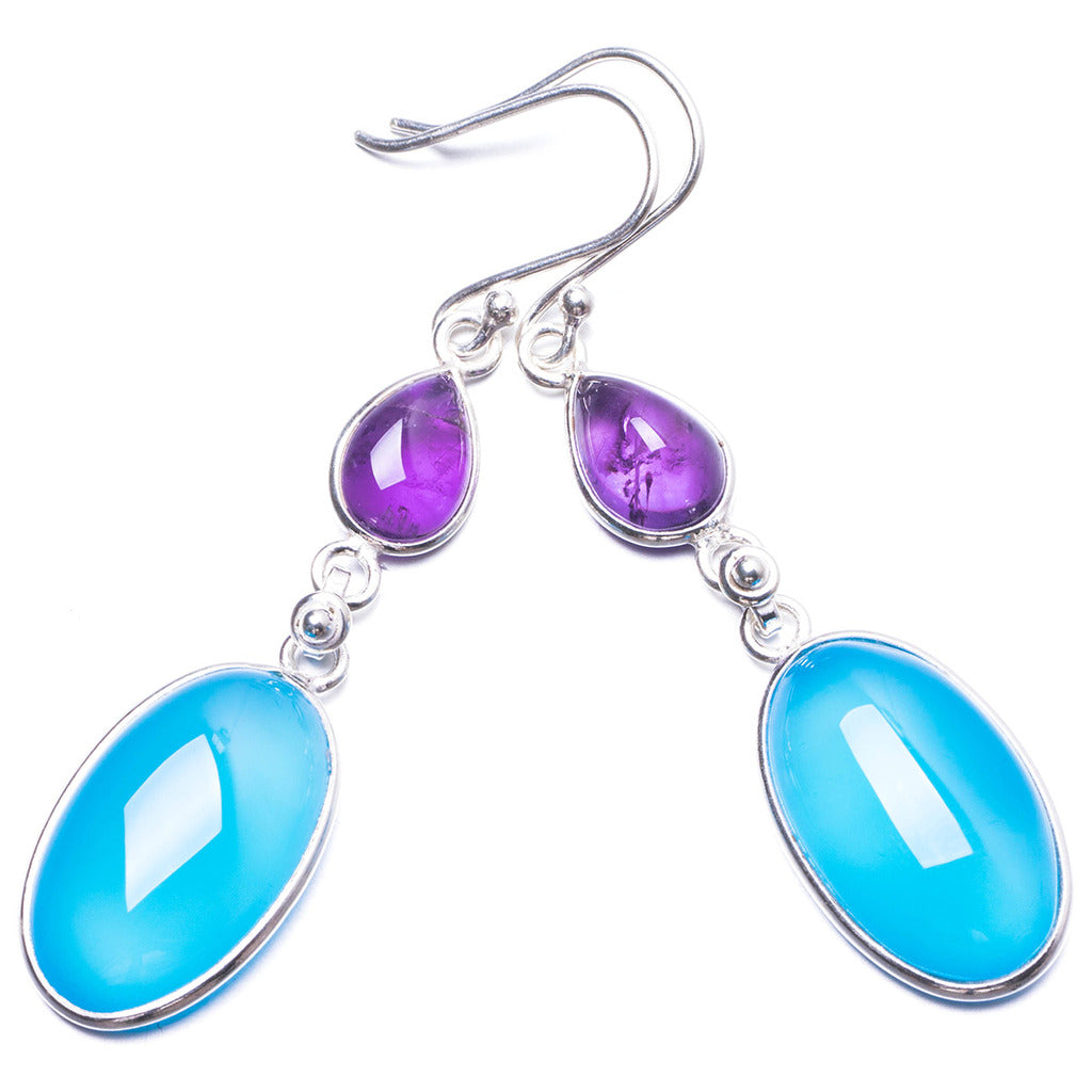 Natural Chalcedony and Amethyst Handmade Unique 925 Sterling Silver Earrings 2.25