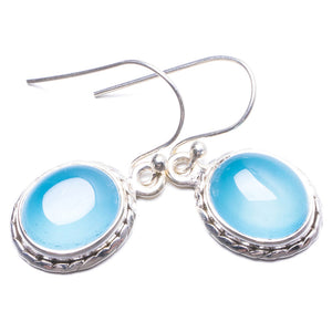 "Natural Chalcedony Handmade Unique 925 Sterling Silver Earrings 1"" Y2476"