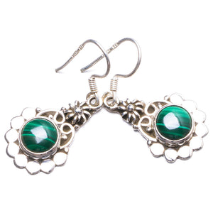 "Natural Malachite Handmade Unique 925 Sterling Silver Earrings 1.25"" Y2491"