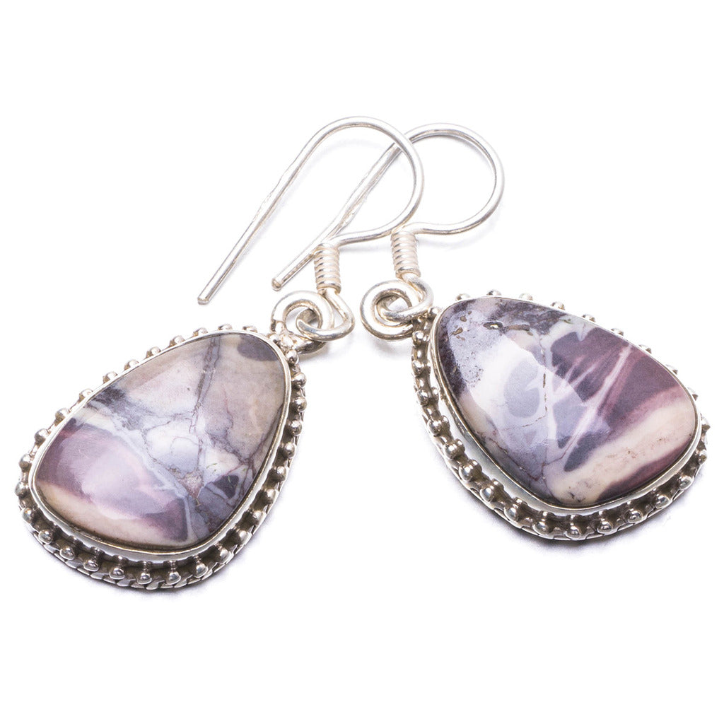 Natural Royal Imperial Jasper Handmade Unique 925 Sterling Silver Earrings 1.25