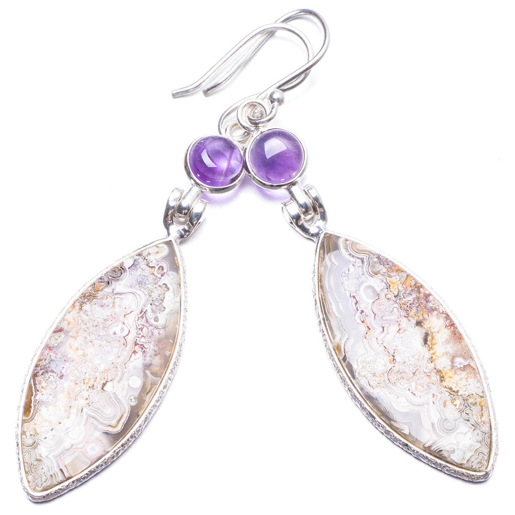 Natural Crazy Lace Agate and Amethyst Handmade Unique 925 Sterling Silver Earrings 2.5