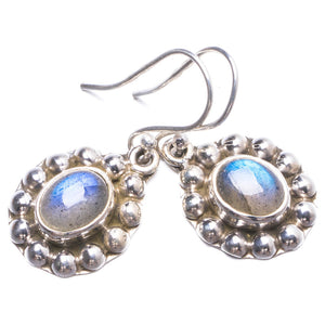"Natural Labradorite Handmade Unique 925 Sterling Silver Earrings 1.25"" Y2610"