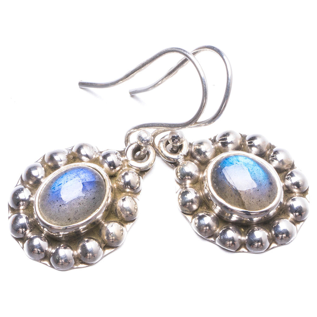 Natural Labradorite Handmade Unique 925 Sterling Silver Earrings 1.25