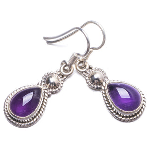 "Natural Amethyst Handmade Unique 925 Sterling Silver Earrings 1.25"" Y2613"
