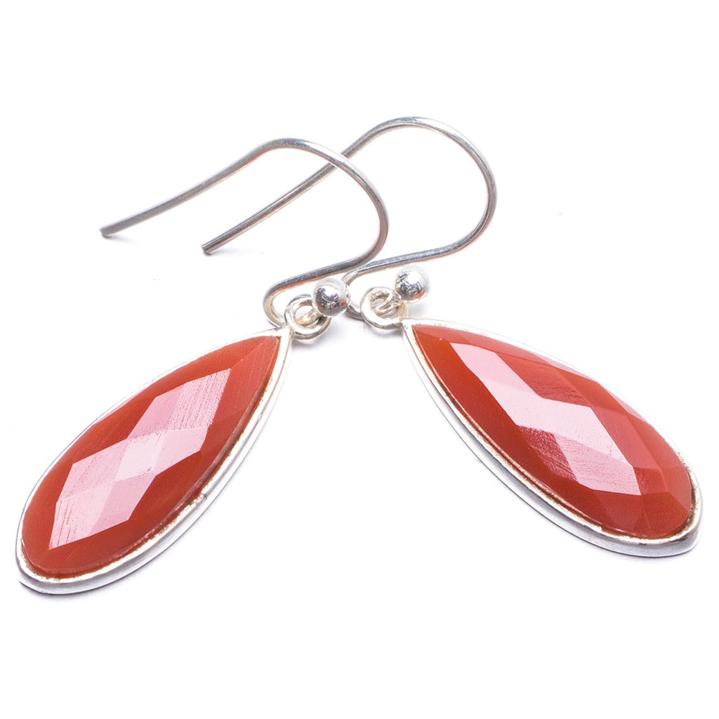 Natural Carnelian Handmade Unique 925 Sterling Silver Earrings 1.25