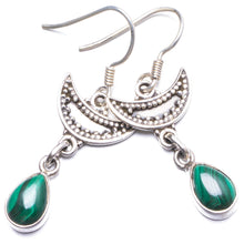 "Natural Malachite Handmade Unique 925 Sterling Silver Earrings 1.5"" Y2664"
