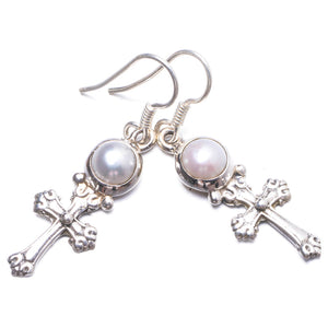"Natural River Pearl Handmade Unique 925 Sterling Silver Earrings 1.5"" Y2671"