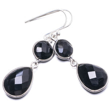 "Natural Black Onyx Handmade Unique 925 Sterling Silver Earrings 1.75"" Y2680"