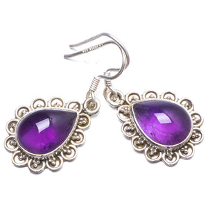 "Natural Amethyst Handmade Unique 925 Sterling Silver Earrings 1.25"" Y2696"