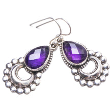 "Natural Amethyst Handmade Unique 925 Sterling Silver Earrings 1.5"" Y2698"