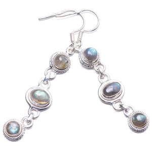 "Natural Labradorite Handmade Unique 925 Sterling Silver Earrings 2.25"" Y2706"
