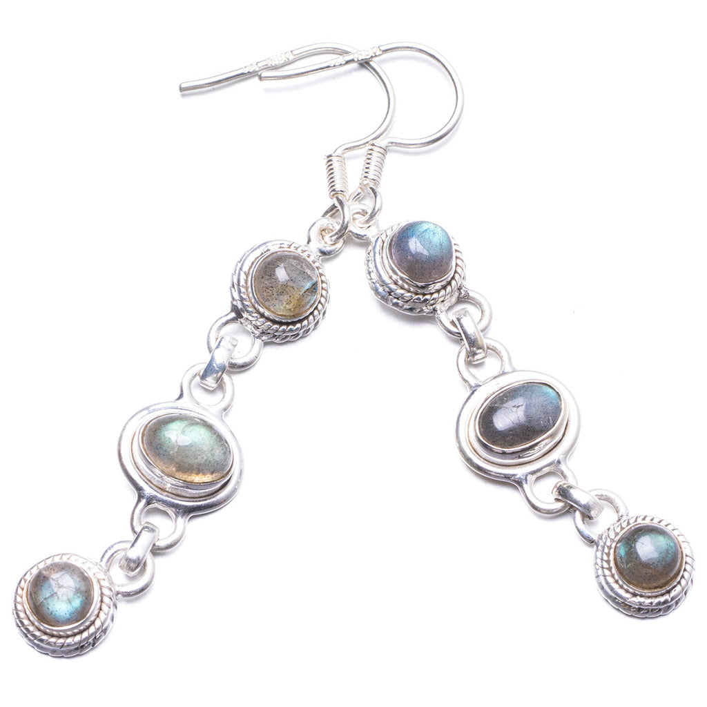 Natural Labradorite Handmade Unique 925 Sterling Silver Earrings 2.25