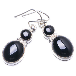 "Natural Black Onyx Handmade Unique 925 Sterling Silver Earrings 1.25"" Y2720"