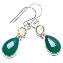 "Natural Chrysoprase and Peridot Handmade Unique 925 Sterling Silver Earrings 1.25"" Y2726"